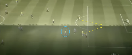 The 1st goal vs Sunderland, shows how high up the pitch Murray is when he heads the ball on and how much further both Zaha and Bolasie are to latch on to the flick on