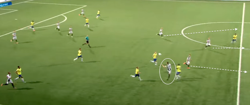 4 man counter attack away at Cambuur, utilising Weghorst's aerial ability and getting 3 runnind beyond him.